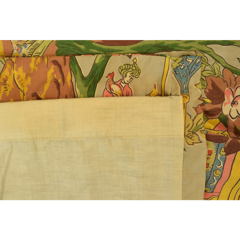Pair of Multi- Pastel Color Chinoiserie Curtains w/ Pinch Pleats & Custom Backing