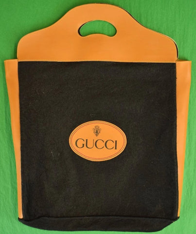 Gucci Black Felt Tote Bag w/ Saddle Tan Trim