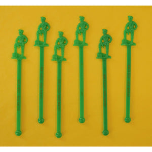 Set of 6 Golden Spur Jockey Bar Green Swizzle Sticks