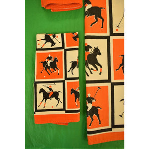 Orange & Black Checked Polo Player Table Cloth w/ 4 Matching Napkins