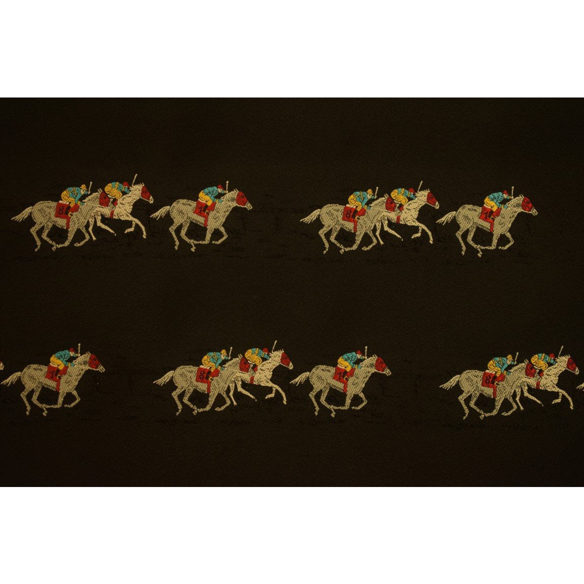 Black Silk Fabric w/ Jockeys & Horse Racehorses