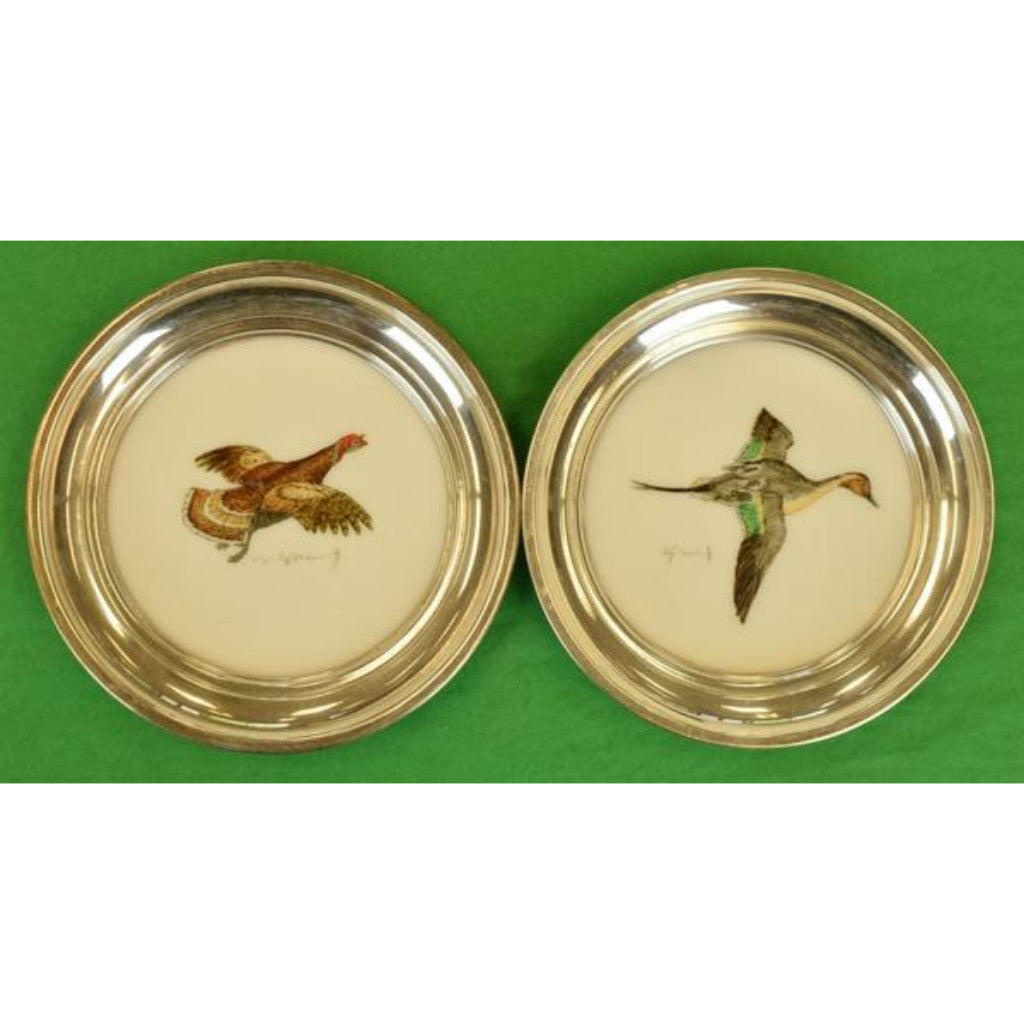 Set of Two Cyril Gorainoff Hand-Painted Milk Glass Sterling Rim Coasters for Abercrombie & Fitch