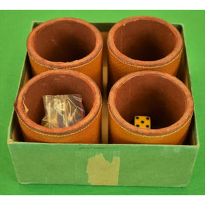 Abercrombie & Fitch c.1950's Boxed Set of 4 English Leather Cups w/Dice & Chips