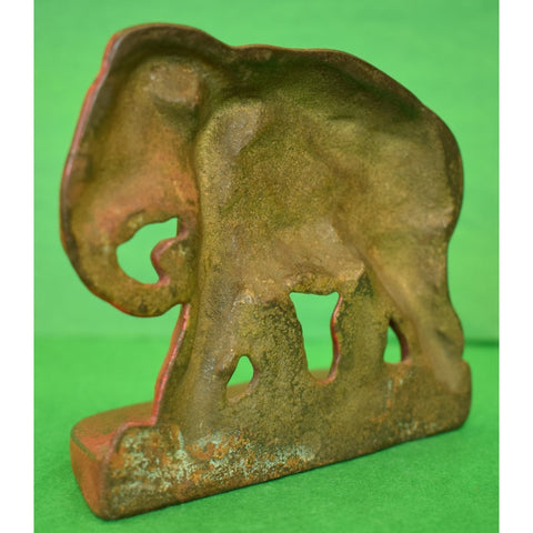 Pair of Vintage Bronze Red Elephant Bookends