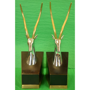 Pair of Gazelle Crome & Brass Horn Bookends