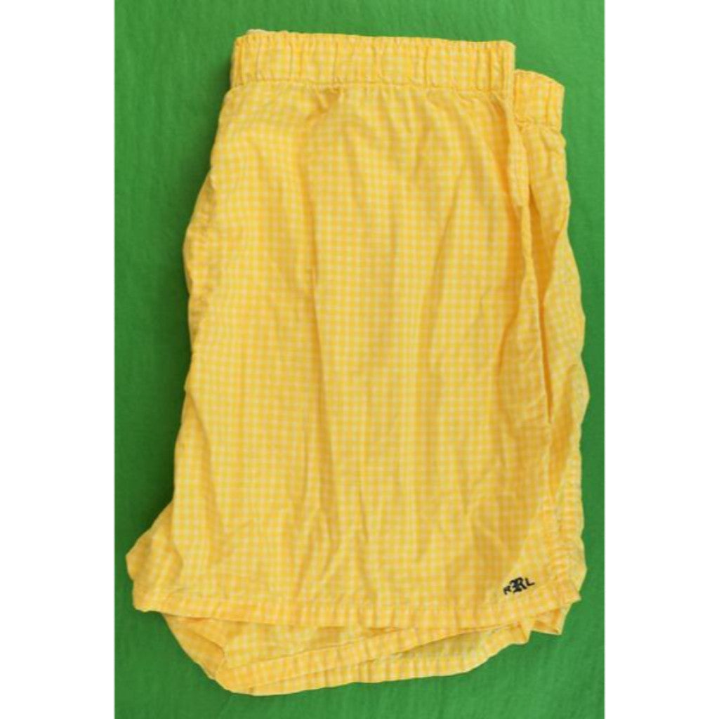 "Rugby Ralph Lauren Yellow Gingham Check Boxer Shorts Sz: 38""W (New w/ Tag!)"