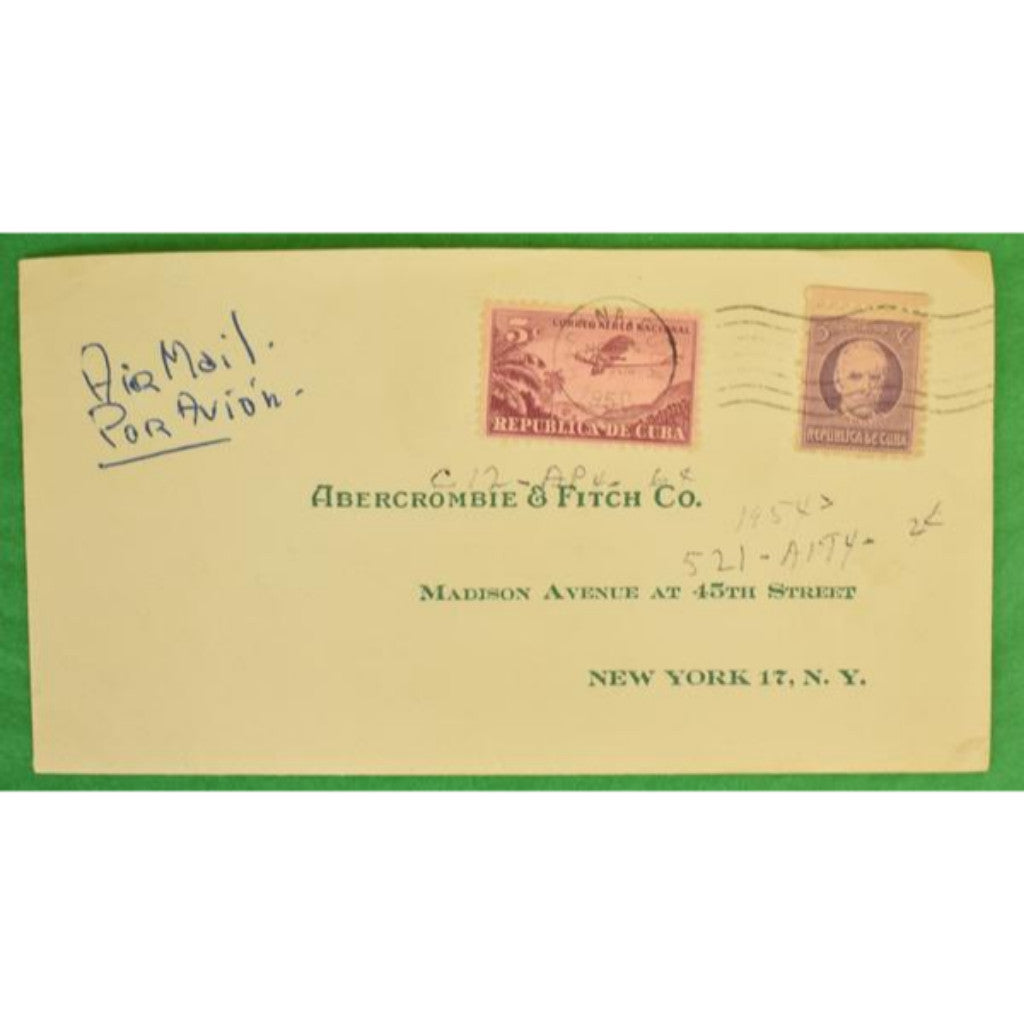 Abercrombie & Fitch 1954 Postmarked Havana Cuba Stamped Envelope