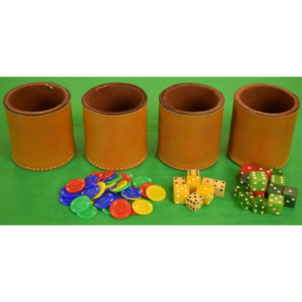 Abercrombie & Fitch c.1950's Boxed Set of 4 English Leather Cups w/ Chips & Dice