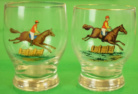 Pair of Hand-Painted Steeplechase Jockey Shot Glasses