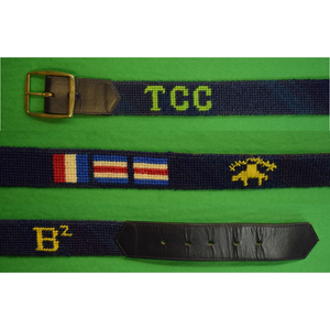 "Custom Needlepoint ""TCC"" Belt w/ Brooks Brothers Golden Fleece & Signal Flags Sz: 33"
