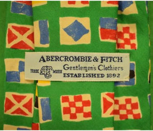 "'Abercrombie & Fitch Green ""Signal Flags"" c1980s Tie'"