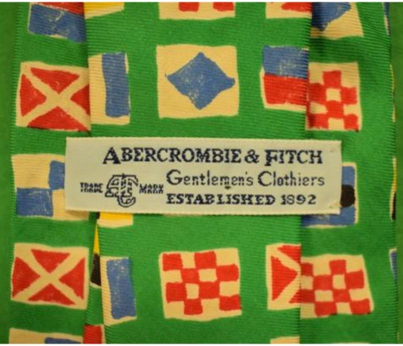 Abercrombie & Fitch Green Signal Flags c1980s Tie
