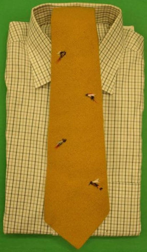 'Abercrombie & Fitch Mustard Yellow Wool Tie w/ Emb 'Trout Flies'