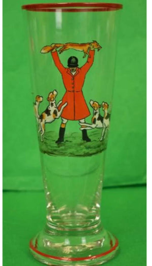 Abercrombie & Fitch Hand-Painted Fox-Hunt Pilsner Glass by Cyril Gorainoff
