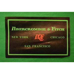 'Vintage c.1960's Abercrombie & Fitch Green & Black Advert Adhesive Label'