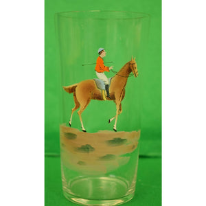 Set of 3 Hand-Painted Vintage Equestrian Highball Glasses