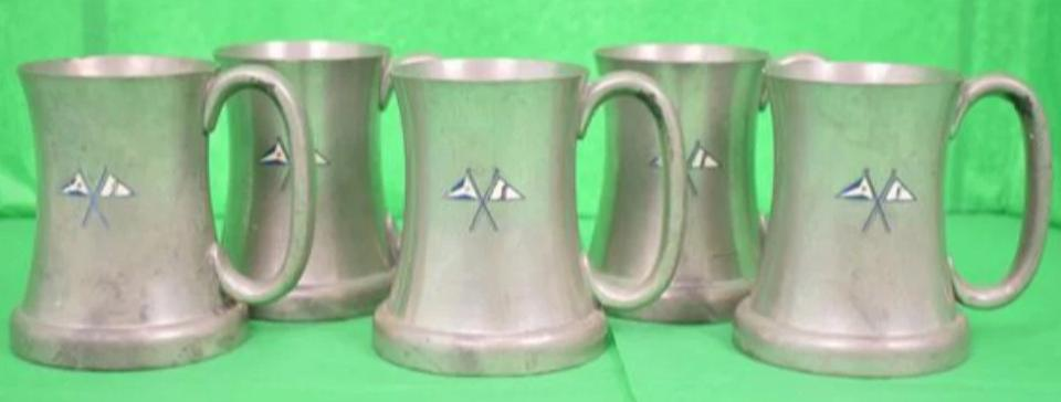 Set of 5 Abercrombie & Fitch English Pewter Private Yacht Flag Mugs