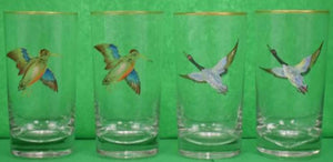 Set of 4 Hand-Painted Gamebird Highball Glasses
