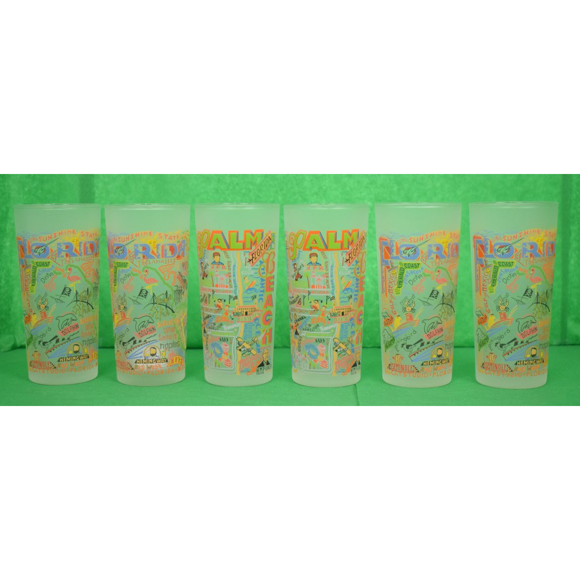 Set of 6 Florida Frosted Highball Glasses