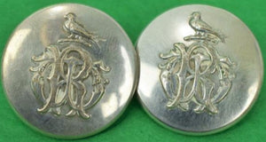 'Pair of 19th C Tiffany & Co Livery Armorial Crested Silver Buttons'