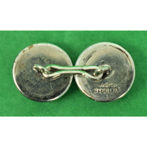 Pair of Enamel Foxhead Crystals w/ Sterling Back Cufflinks