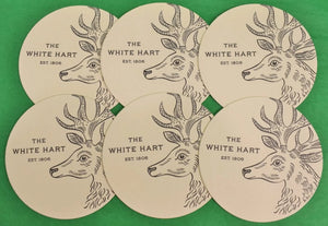 Set of 6 The White Hart Stag Cocktail Coasters