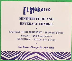 El Morocco's Club NYC Tabletop Placecard