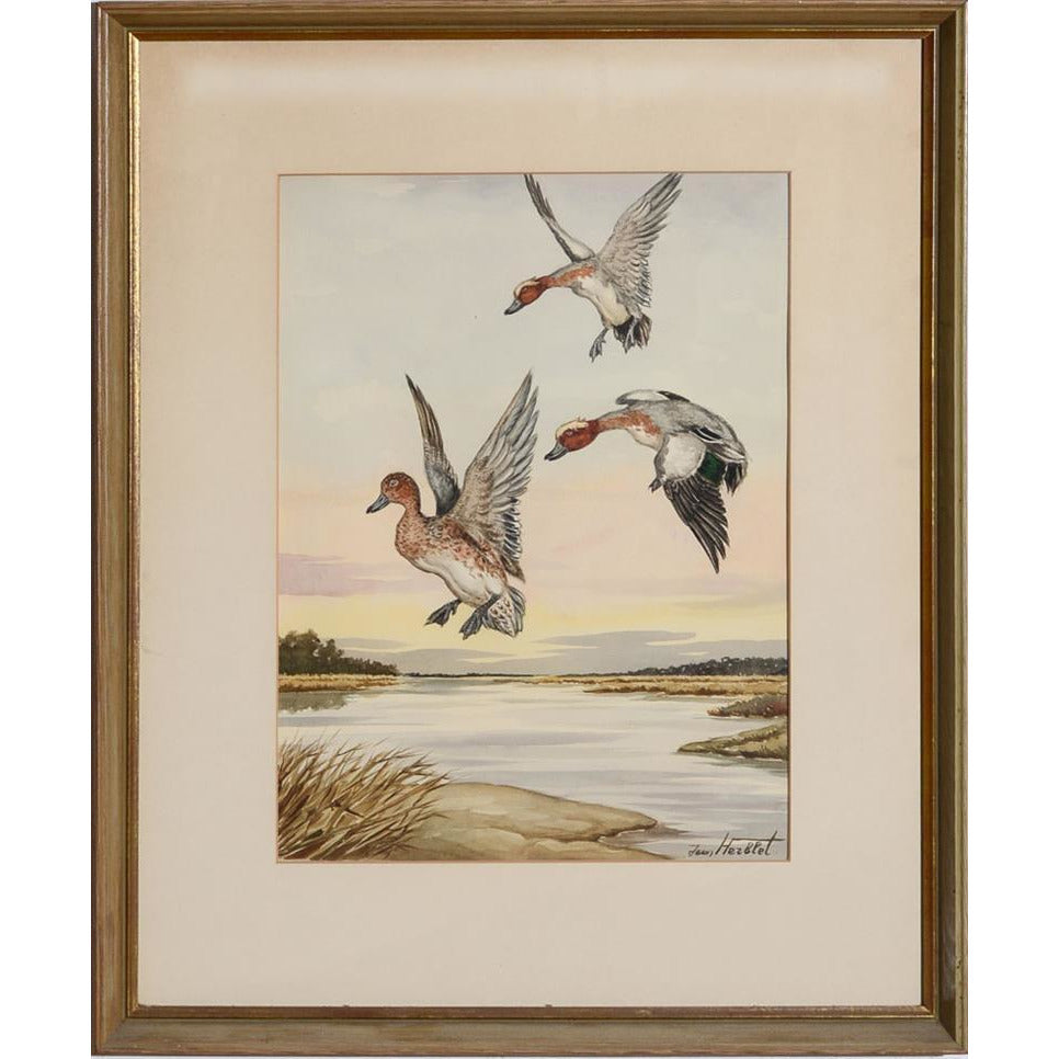 Ducks in Flight Watercolour by Jean Herblet from the CZ Guest estate