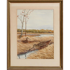 Marsh Birds Watercolour by Jean Herblet from the CZ Guest estate