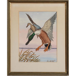 Ducks in Flight 1 Watercolour by Jean Herblet from the CZ Guest estate