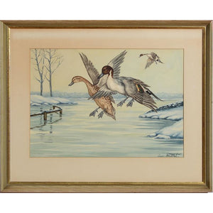 Ducks in Flight 2 Watercolour by Jean Herblet from the CZ Guest estate