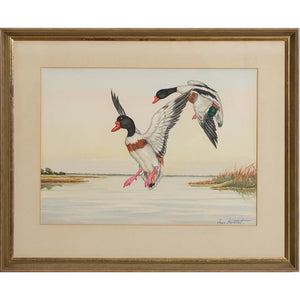 Ducks in Flight 3 Watercolour by Jean Herblet from the CZ Guest estate