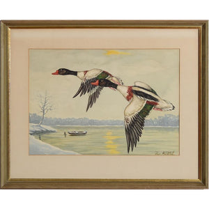 Ducks in Flight 4 Watercolour by Jean Herblet from the CZ Guest estate