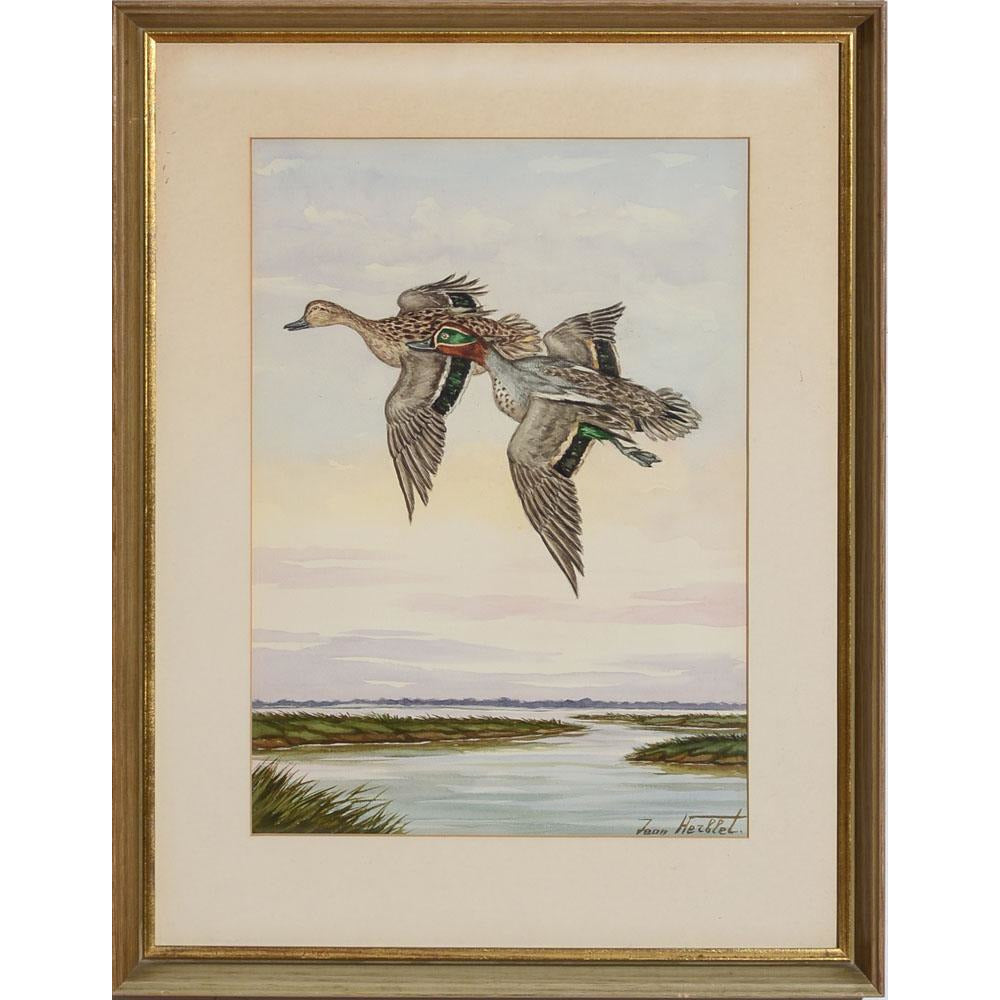 Ducks in Flight, 6 Watercolour by Jean Herblet from the CZ Guest estate