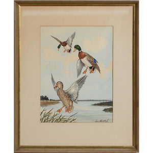Ducks in Flight, 7 Watercolour by Jean Herblet from the CZ Guest estate