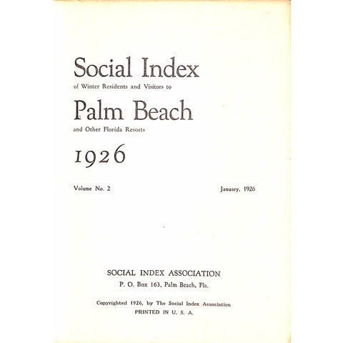 Social Index Winter Residents And Visitors To Palm Beach And Other Florida Resorts 1926