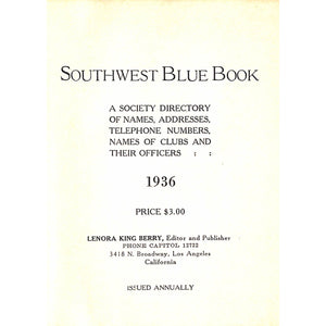 Southwest Blue Book 1936