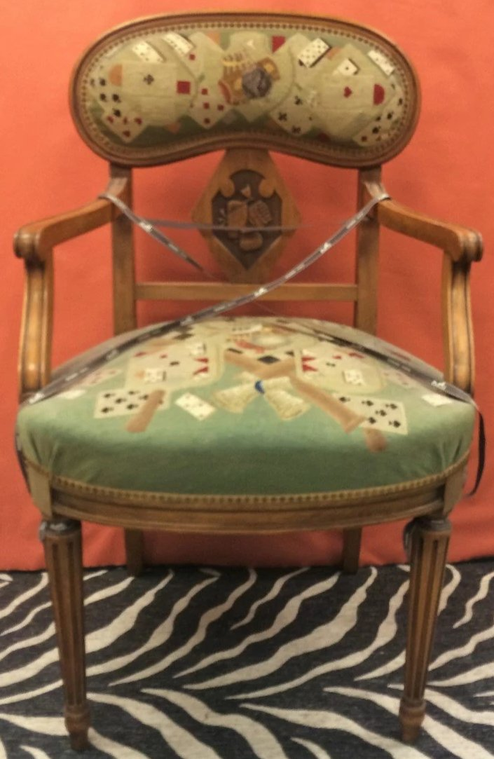 Petit Point Playing Cards Motif Scottish Oak Armchair