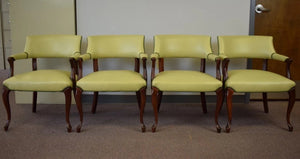 Set of 4 Celedon Leather Upholstered Armchairs