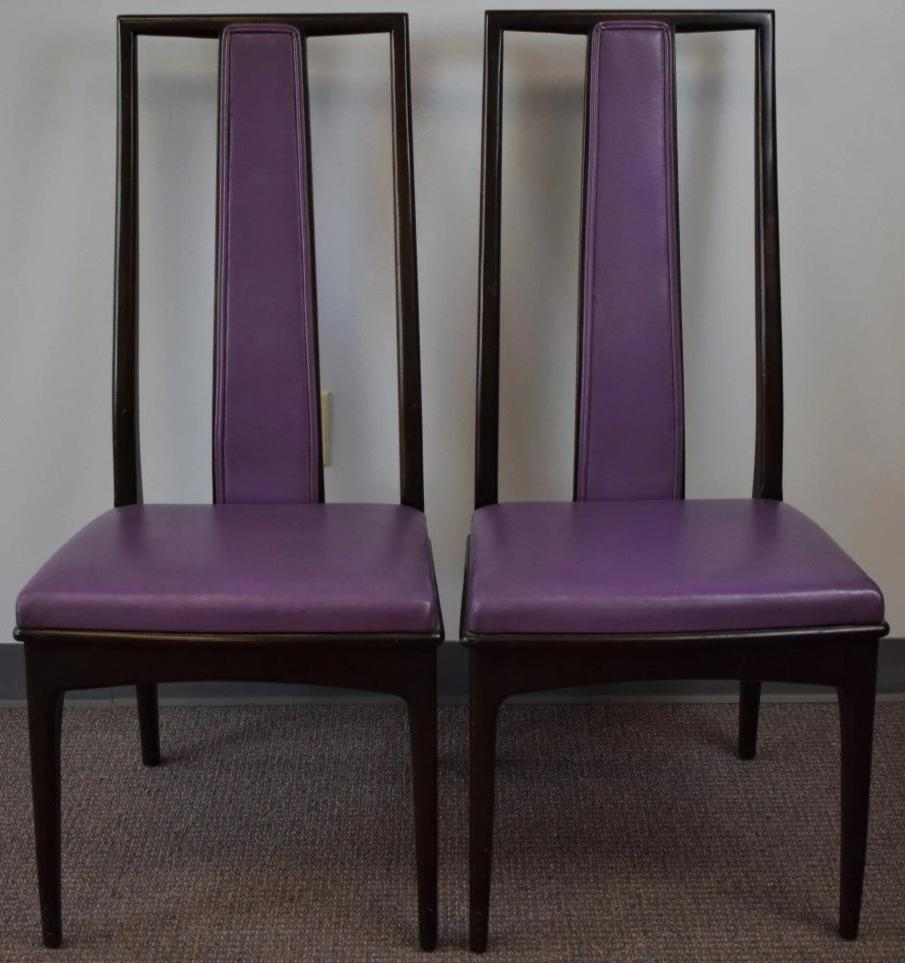 Pair Of John Stuart Inc New York/Grand Rapids Eggplant Leather High Back  Chairs