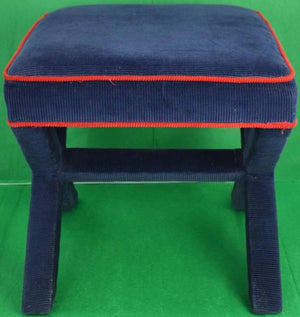 Jonathan Adler Navy Corduroy w/ Red Piping X'd Legs Ottoman