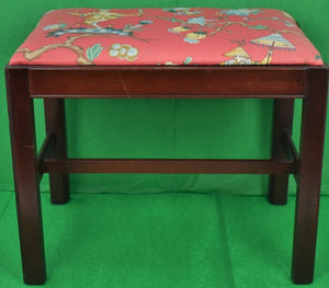 Coral Chinoiserie Fabric Upholstered Mahogany Bench