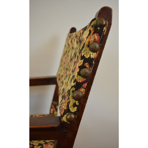 Pair of Tapestry Needlepoint Armorial Hall Chairs
