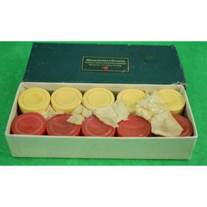 Abercrombie & Fitch Bakelite 15 Red & 15 Cream Poker Chips