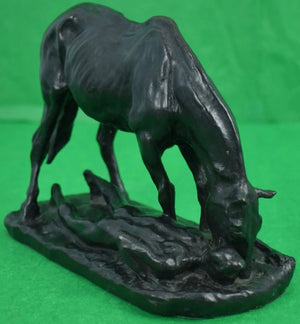 Charles Cary Rumsey Bronze Horse & Man Drinking Water Sculpture