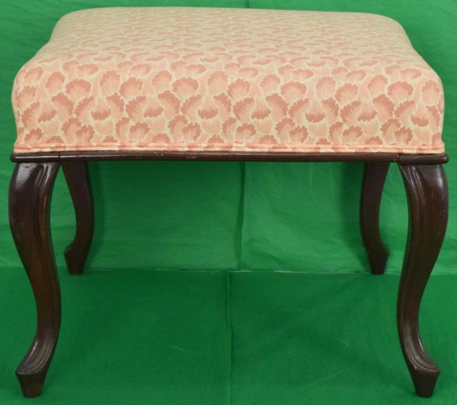 English Coral Scallop Fabric Upholstered Mahogany Ottoman