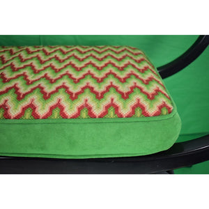 Red & Green Crewel Zig-Zag Stitch Ebony Side Bench