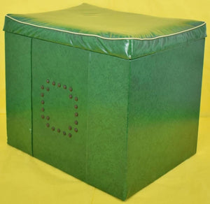 Green Leatherette Lift-Top Seat Stool