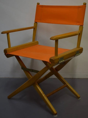 Set of (2) Hermes Orange Canvas Director's Chairs