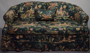 Chinoiserie Upholstered Sofa w Pillow
